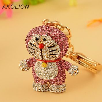 Cute Hello Kitty Rhinestones Metal Keychain Women Car Bag Charms Pendant Alloy KT Cat Key Rings Chains Trinkets Gift Chaveiro
