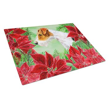 Fox Terrier Poinsettas Glass Cutting Board Large CK1298LCB