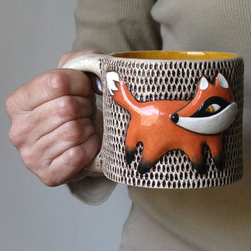OOAK FOX MUG Large Ceramic  Entirely Handmade Cofee Tea Cup / Unique Gift / orange tangerine white dark brown mustard yellow
