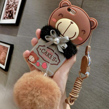 Lovely brwon bear baby plush ball phone case For iPhone 6 6S 6Plus 6S Plus 7 7 PLUS  Girllove100