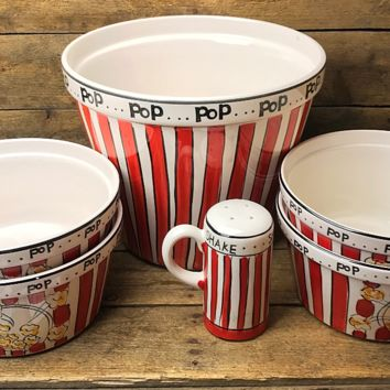 Set of 6 Popcorn Bowls and Salt Shaker Set - Tabletops Unlimited