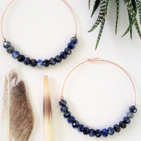 Lapis Lazuli Earrings, Gemstone Hoop Earrings, Raw Crystal Earrings, Rose Gold Earrings, Gift For Mom, Gift For Her
