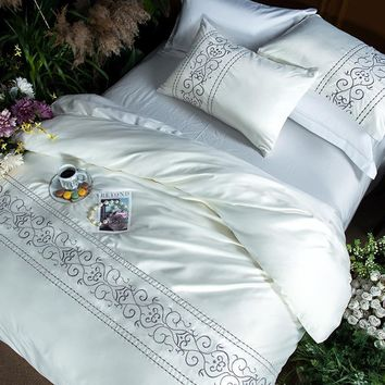 Cool Pink white grey silk cotton luxury Bedding Set king queen size bed set Bedsheets linen set embroidery Duvet Cover pillowcaseAT_93_12