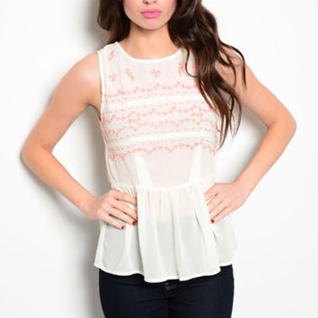 Neon Coral and Cream Peplum Tribal Top