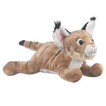 "9"" Lying Bobcat Cub Stuffed Animals Floppy Lynx Zoo Animal Conservation Collection"