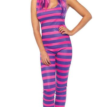 Sexy Cheshire Purple Pink Horizontal Stripe Pattern Sleeveless Scoop Neck Bodycon Jumpsuit Halloween Costume