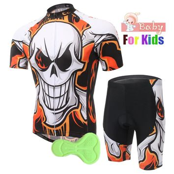 Kids Cycling Clothing Sets Bicycle Racing Team Boys Skull Short Sleeve Breathable Roupa Ciclismo Children's Cycling Jersey Kits