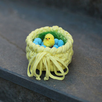 Chick Easter Basket, Crochet Easter Basket, Easter Decor, Easter Basket Filler, Easter Bowl, Spring Decor, Easter Eggs, Easter Ornaments