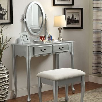 3 pc Sommerville collection silver finish wood with mirrored front panel vanity set with bench and mirror