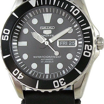 Seiko 5 Sports Automatic Black Dial Rubber Strap Mens Watch SNZF17J2