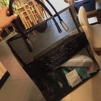 BURBERRY's new single-shoulder bag transparent gauze online travel bag with shopping bag of beach bag