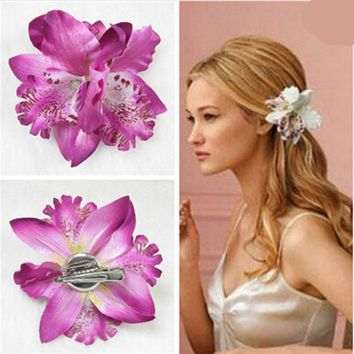 Hot Sale Bohemia Orchid Peony Flowers Hair Clips Hairpin Corsage Hair Jewelry Fashion Tiara 10 Colors Can Be Choosed