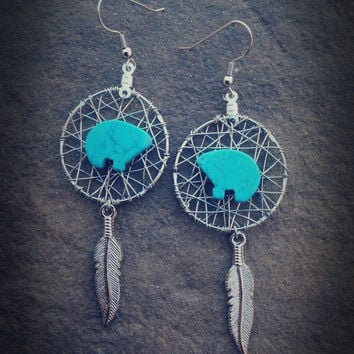 Dream Catcher Earrings - Turquoise Bear