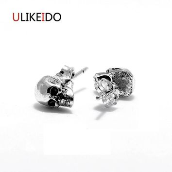 100% Pure 925 Sterling Silver Skull Stud Earring Fashion Punk Pirates Skeleton Jewelry For Men And Women Special New Gift 311