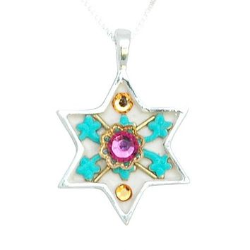 Colorful Silver Star of David Necklace  - Judaica