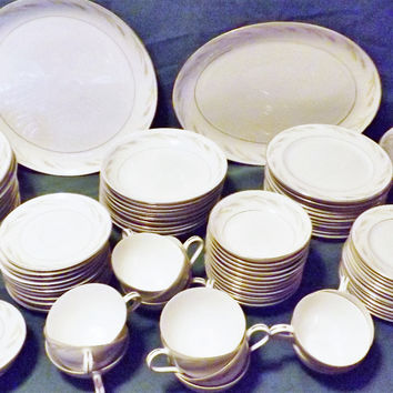 Kyoto 91 pc Japanese Fine China Dinnerware Set for 12 Royal Wheat 6062