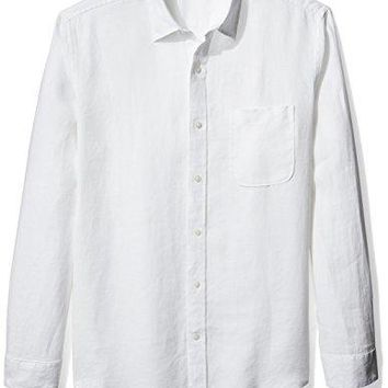 Amazon Essentials Men's Regular-Fit Long-Sleeve Linen Shirt, White, Large