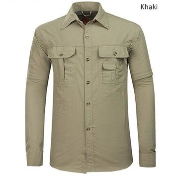 Quick Dry Detachable Sleeve Button Up Shirt