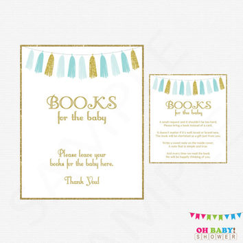 Book Request Baby Shower, Blue and Gold Baby Shower, Bring a Book Instead of a Card, Baby Shower Sign, Baby Shower Printables, Boy, TASBG