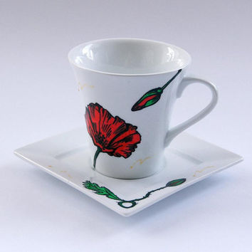 Red Poppy Cup with Custom Inscription. Great Gift for Friend of Family Member.