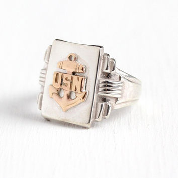 Vintage USN Ring - Sterling Silver + 10k Rose Gold United States Navy Anchor Signet - 1940s Retro WWII Size 10 Men's Military 40s Jewelry