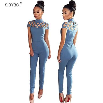 Rompers Womens Jumpsuit  2017 Autumn Elegant High Neck Cut Out Tight Club Party Women Bodycon Jumpsuit Sexy Bodysuit Overalls