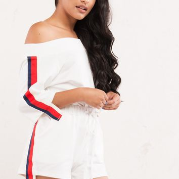 Athletic Red White & Blue Side Stripe Shorts in White - AKIRA