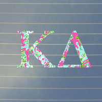 Lilly Pulitzer Inspired Kappa Delta Car Decal | Kappa Delta Car Sticker | Kappa Delta Sorority Decal | Greek Decals | Greek Stickers | 156