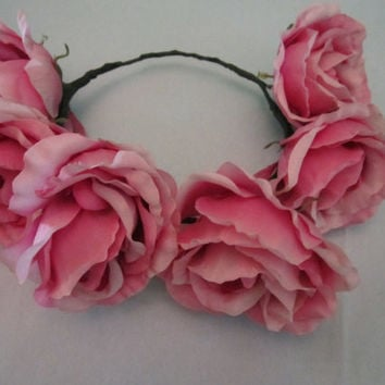 One-of-a-Kind Flower Crown- Purplish Pink Roses