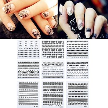 Zodaca Black 10-sheet Set Lace Nail Art Design Manicure Stickers   Overstock.com Shopping - The Best Deals on Nail Polish