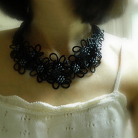 Black Japanese/Chinese Knot Necklace with Black Pearls, fiber necklace, textile necklace, floral Knot necklace,bib necklace