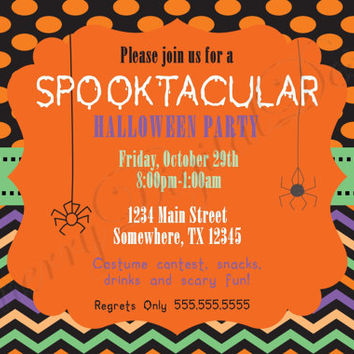 Spider Spooktacular Halloween Party Printable Digital Invitation. Fun Halloween Party Invitation.  Fun Party Invite, Spiders.