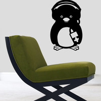 Penguin with Music Player Housewares Wall Vinyl Decal Art Modern Design Murals Interior Decor Sticker Removable Room Window en37