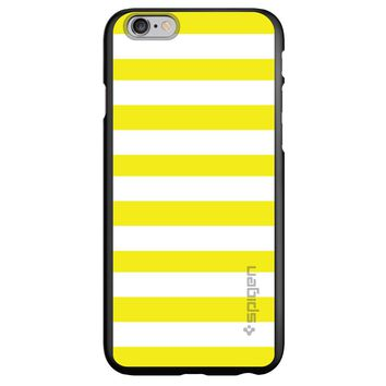 DistinctInk® Spigen ThinFit Case for Apple iPhone or Samsung Galaxy - Yellow & White Bold Stripes