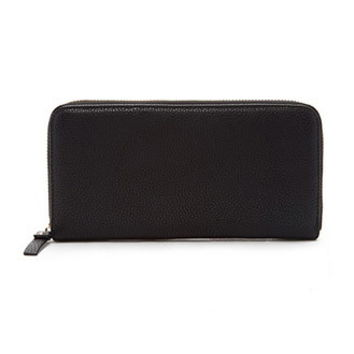 Zippered Faux Leather Wallet