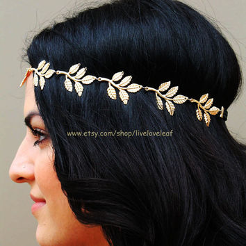 SALE Gold Leaf headband, Greek leaf with black elastic band hair accessory Grecian headpiece, hair jewelry, Hair chain, Eddera, accessories