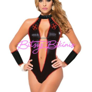 Adult Women's Sexy Black Red Naughty Devil Nurse One Piece Halloween Costume 4pc