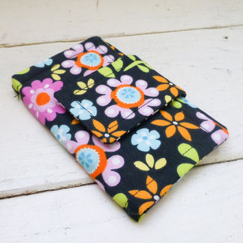 Fabric Wallet, women's wallet, business card holder, velcro or snap closure, ready to ship, black wallet, floral print, cute accessory