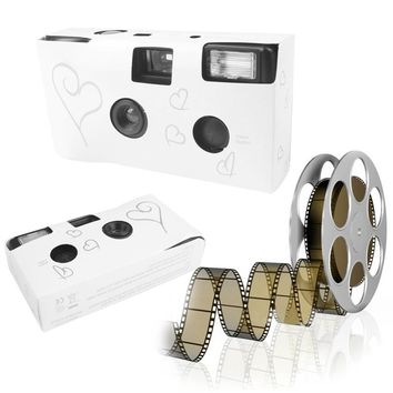 5pcs Silver Funny Heart Disposable Camera for Wedding Bridal With Flash and Table Card Christmas