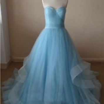 Light Blue Princess Formal Occasion Dress with Pleated Bodice Custom Size 2 4 6+