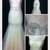2013 New Strapless One Shoulder Beaded Waist Tulle Mermaid/Trumpt Wedding Dress