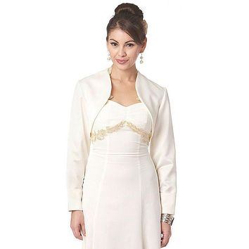 CLEARANCE - Long Sleeve Ivory Bolero Jacket Wedding Bridal Poly Satin (Size 3XL, 4XL)