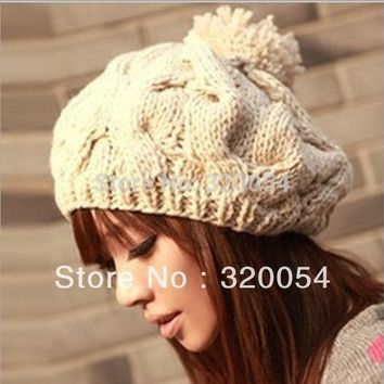 Free Shipping1pcs2016 New Korean Version Of The Pumpkin Hat Hand Knitted Hats Autumn And Winter Wool Capwarm Hatmulticolor