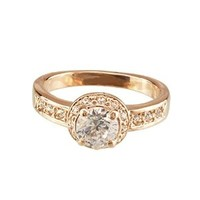 FM42 Round Cut Clear Crystal Vintage Style Engagement Style Ring R45