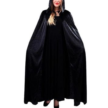 ONETOW Halloween Costume Hooded Death Elf Magician Witch Cloak Masquerade Party Cosplay Clothes for Adul Red Blue Black Purple