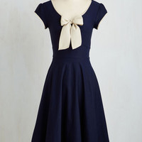 Vintage Inspired Long Short Sleeves A-line All That and Demure Dress in Navy