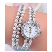 Elegant Crystal Stud Long Pearl Strap Wrist Wrap Watch