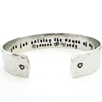 Thank you For Raising the Woman of my Dreams Cuff Bracelet, Mother of the Bride Gift, Custom Cuff Bracelet