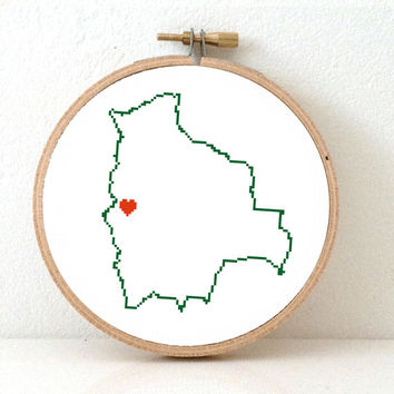 BOLIVIA map modern cross stitch pattern. Bolivia textile art. Bolivia wedding gift. La Paz map