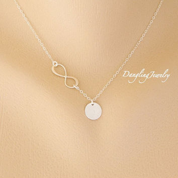 Custom Initial Necklace, Infinity Necklace, Monogram Charm Necklace, Initial Necklace, Silver Disc, Bridesmaid Gift, New Mom Necklace